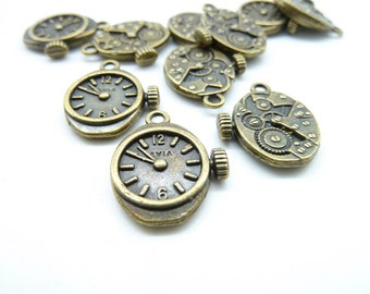 15pcs 12x20mm Antique Bronze Watch Clock Gear Charms Pendant C7035