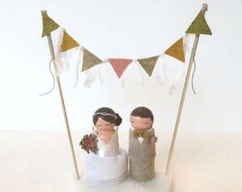 Custom Wedding Cake Topper Bunting with Bride & Groom Dolls (Burlap) (Lace) Wedding Cake Bunting Flags with dolls