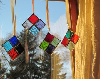 4 Stained Glass Ornaments