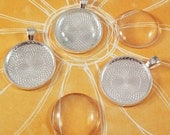 """500 1"""" Round Shiny Silver Pendant Trays and Glass Cabochons"""