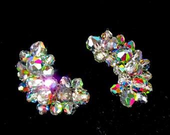 Vintage Aurora Borealis Margarita Crystal Beaded Earrings, Clip Backs, Beautiful Rainbow of Color