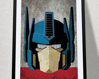 Optimus Prime Transformers Poster Print - Original Transformers Cartoon Vector Art - Man Cave - Comic Print 80's transformers