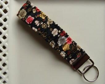 Wristlet / Elastic / Key Chain - Cherry Blossoms on Black