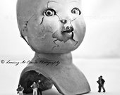 broken doll head, cracked doll art photo, creepy doll with miniatures, unusual exhibition, freak show, art for cool kids