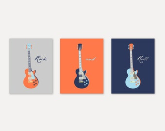 Kids Wall Art Boy room decor Guitar Prints in navy, orange, gray Home Decor Prints Gift for him Print Art Baby Boy Nursery Art YassisPlace