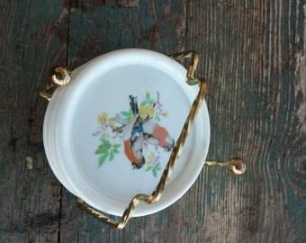 """On Sale Bird Lover Set 4 Porcelain Coaster 3-5/8"""" Bird Plates Glass Bird Watcher Orange Red"""
