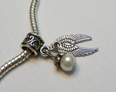 Color Choice Pearl Angel Wings Charm Bead for fits European Style Bracelets
