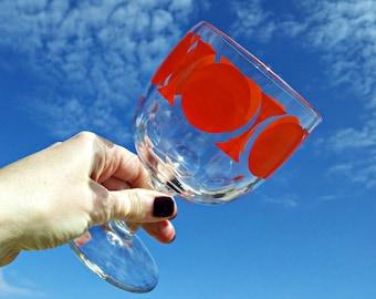 Groovy Vintage Thumbprint Goblet - Near MINT Condition - Orange Mod Geometric Design Heavy Stemmed Beverage Glass