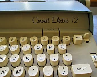 Vintage Portable Electric Typewriter with Lockable Case - Smith Corona - Sage Green - Coronet Electric 12 Typewriter with Case and Key