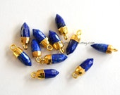 ONE Blue Lapis Lazuli Bullet Spike Point Pendant Capped in Gold 16x5mm