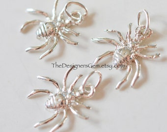 Detailed Sterling Silver Spider Charm with Closed Loop