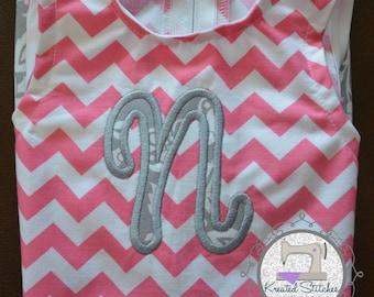 Monogrammed Chevron Dress Monogrammed Baby Dress Pink Chevron Dress Baby Shower Gift