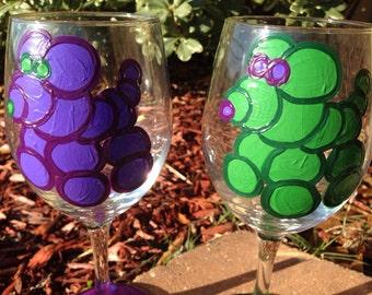 Bead Dog, Mardi Gras Wineglass Bead Dog Art New Orleans wine glass