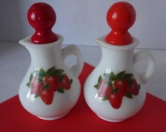 Set of Avon Vintage Strawberries and Cream Cruets