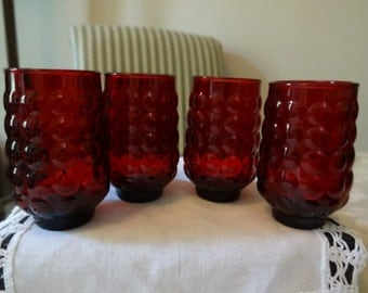 Anchor Hocking Ruby Bubble Juice Vintage Glass Set of Four