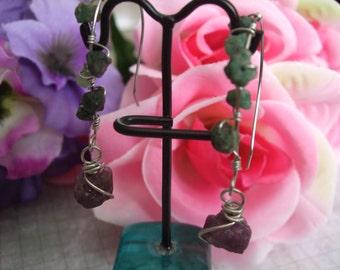 Ruby and Emerald Hoop Earrings