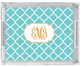 """Personalized Lucite Tray with Monogram - 11"""" x 17"""" - Custom Acrylic Tray"""