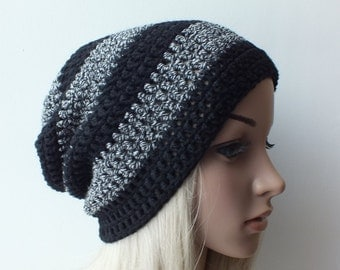 Mens slouch striped beanie black-gray , womans mens unisex