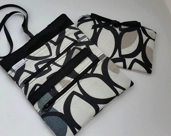 Jewellery storage Roll in Retro Black White and Grey Travel Luggage