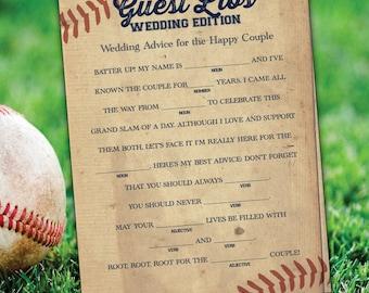 Baseball Wedding MadLibs - printable