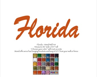 """Florida word wall art - 36"""" wide - choose your color with rust patina - metal art - Florida art - Miami Orlando Key West Cape Coral Disney"""