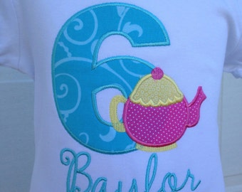 Personalized/Monogrammed Tea Party Birthday Shirt
