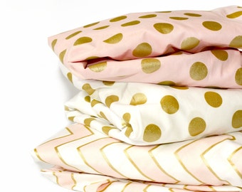 GOLD POLKA DOT crib sheet - metallic polka dot bedding- baby girl nursery - crib fitted sheet- changing pad cover- pink gold baby sheet
