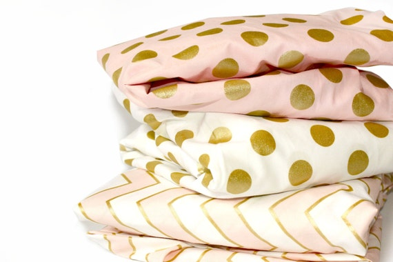 GOLD POLKA DOT crib sheet metallic polka dot by NewMomDesigns