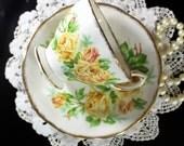 Royal Albert, Tea Rose Teacup, Tea and Cup Saucer, Yellow Roses, Footed Cup, English Bone China