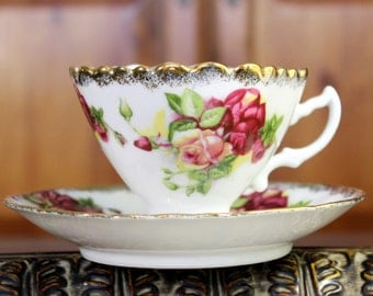 Kondo Rose Teacup and Saucer - Porcelain Tea Cup Made in Japan 11950