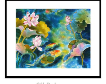 Acrylic GICLEE Print Of Original Acrylic Painting SILK Painting  Fine Art Print Koi Fish Painting Illustration