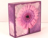Daisy Wood Block, Gerbera Daisy, Recycled Wood, Original Photo, Painted Edges