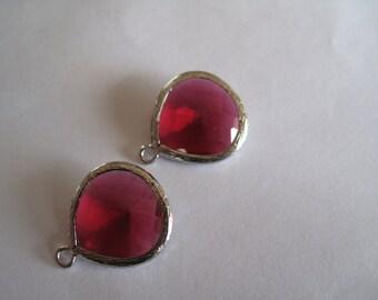 2 Fuchsia Teardrop Gemstones