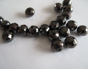 25 Faceted Black Glass Beads