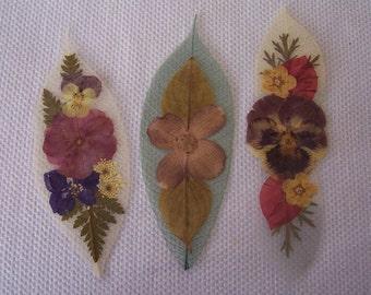 Pressed flowers on leaf skeletons book marks, set of 3. Set 023.