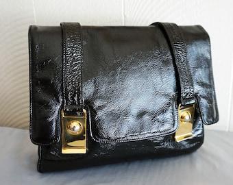 1960's Mod Susan Gail Black Crinkle Patent Handbag Purse