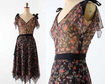 vintage 70s handkerchief hem dress,  black sheer floral
