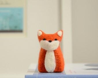 Needle Felted Fox, orange woodland home fall autumn decor stocking stuffer ecofriendly