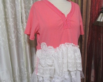 SALE XL Lace Pink Top, altered shabby n chic, white lace ruffle lace vintage lace doily, shabby pink blouse xl,  X Large