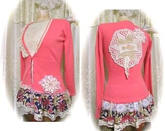 Cute Pink Sweater, shabby and chic, ruffled hem, doily lace embellished, altered clothing, womens upcycled clothing, v neckline, MEDIUM