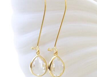 Clear Diamond Glass EarringsEarrings,Jewelry, Gold Earrings,Gold Earrings,Wedding,Bridal, Bridesmaid Gift