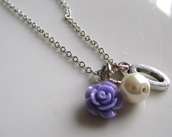 SALE***Purple rose necklace with letter  - Bridal necklace - Bridesmaid necklace - Flower girl necklace