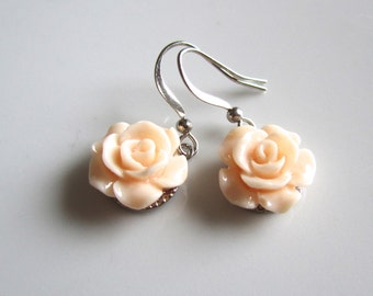 Salmon rose earrings - Bridal earrings - Bridesmaids earrings