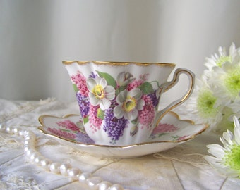 Vintage Floral Tea Cup Set Rosina Gold Scalloped Rim Pink and Purple Cup and Saucer Numbered Bone China Gift For Mom Vintage 1960s