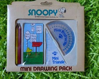 Mini Snoopy Drawing Pack Protractor Noteboook Set