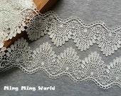 Venice Lace Trim - 1.5 yards Ivory Chrysanthemum Lace Trim (L518)