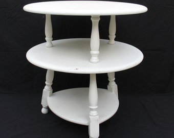 3 tier side table shabby distressed white side table 1950u0027s solid maple