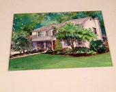 House portrait - Watercolor painting from photo
