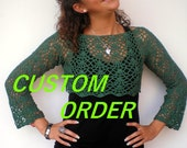 RESERVEDCoral Short Bolero  Sweater Trendy Lace   Cotton Hand Crocheted  Woman Sweater CUSTOM ORDER