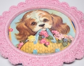 Nursery Wall Art / Pink Crochet Frame / Wall Decor with Vintage Coby Puppy Dog Print / Kitschy Cute Decor / Vintage Decoration Ready to ship